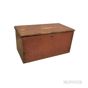 Small Red-painted Cherry Six-board Box