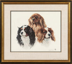 Charles Frace (Tennessee, 1926-2005)    Three Cavalier King Charles Spaniels