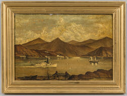 American School, Late 19th Century      Paddlewheel Steamer with Mountainous Landscape