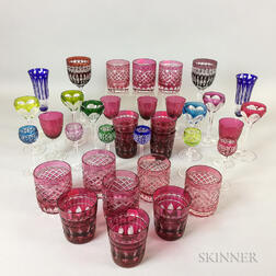 Thirty-six Pieces of Colored Cut-to-clear Glass Tableware