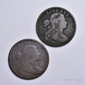 Two 1803 Draped Bust Large Cents