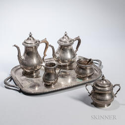 Gorham Five-piece Tea Set and Silver-plated Tray