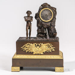 Gilt and Patinated Bronze Automaton Clock