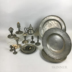 Group of Pewter Tableware and Lighting