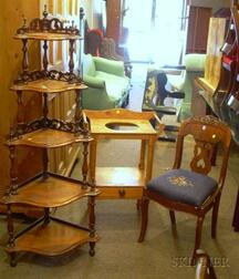 Empire Mahogany Veneer Side Chair, a Pine Washstand, and a Victorian Walnut Five-Tier Corner What-not.