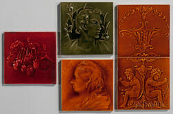 Five Art Pottery Tiles Including J.C. Edwards and Craven Dunnill