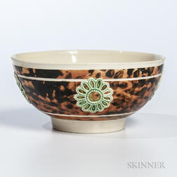 Slip-marbled and Sprig-decorated Creamware Bowl