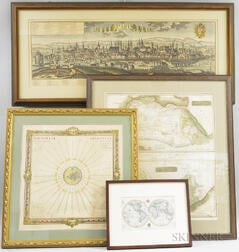 Four Framed Maps and Views