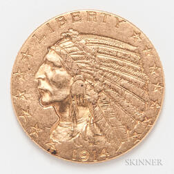 1914 $5 Indian Head Gold Coin.     Estimate $300-500