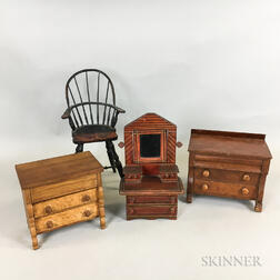 Four Pieces of Turned and Painted Miniature Furniture