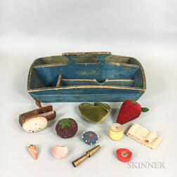 Blue-painted Pine Cutlery Tray and a Group of Sewing Items