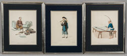 Three Prints: A Flute-Seller ,  Image of a Tinworker