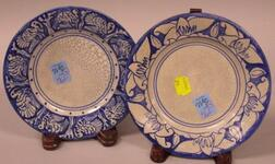 Dedham Pottery Magnolia and Turkey Pattern Bread and Butter Plates.