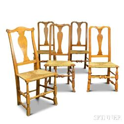 Five Queen Anne Maple Side Chairs
