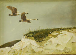 Arnold R. Eakin (American, 1914-1989)      Two Swans in Flight Over Dunes
