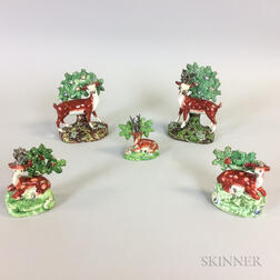 Five Staffordshire Bocage Figures with Deer