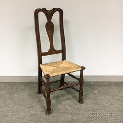 Queen Anne-style Carved Mahogany Side Chair