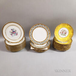 Thirty Limoges Gilt and Floral-decorated Porcelain Dinner Plates