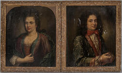 French School, 17th/18th Century      Two Portraits of a Gentleman and Lady, Probably After Jakob Ferdinand Voet (French, 1639-1700)
