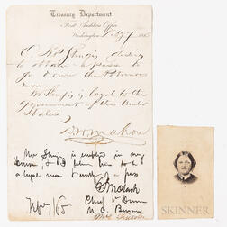 Lincoln, Mary Todd (1818-1882) Signed Request for a Pass, 1865, February 7.