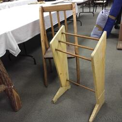 Burled Wood Chair and a Yellow-painted Hanging Towel Rack