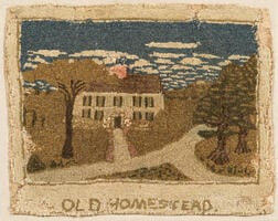 "Yarn-sewn ""Old Homestead"" Mat"