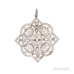 Edwardian Platinum and Diamond Pendant