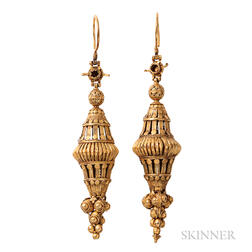 High-karat Gold Pendant Earrings