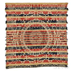 Four-color Woven Wool and Cotton Beiderwand Coverlet