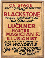 """Painted """"Luckner Master Magician & Illusionist"""" Trade Sign"""