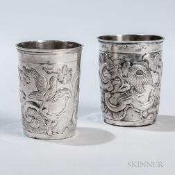 Two Russian Imperial Silver Beakers