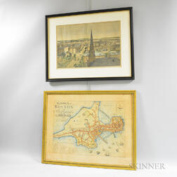 Boston and New York Map and View