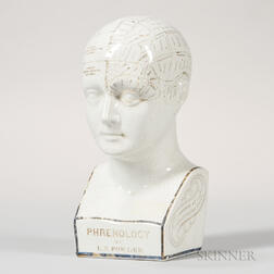 L.N. Fowler Ceramic Phrenology Head