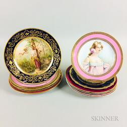 Eleven English and Continental Hand-painted Porcelain Cabinet Plates