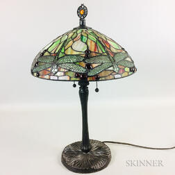 Slag Glass and Metal Dragonfly Table Lamp