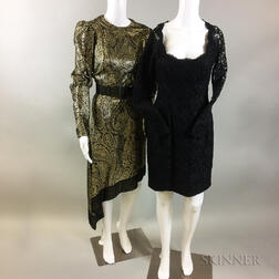 Three Vintage Designer Silk Cocktail Dresses