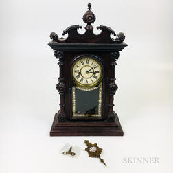 Welch, Spring & Co. Turned and Glazed Walnut Shelf Clock