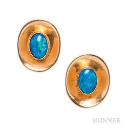 18kt Gold and Opal Cuff Links