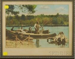 Framed Early 20th Century Hand-colored Photograph Depicting a Fishing Party