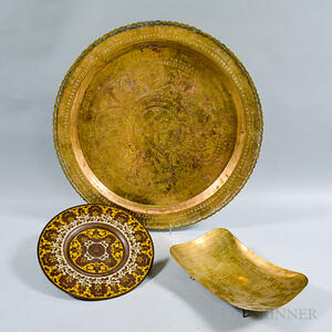 Two Brass Trays and a Footed Bowl