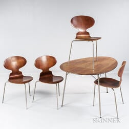 Arne Jacobsen Egg Table and Four Ant Chairs
