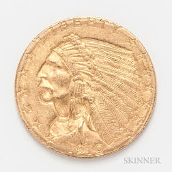 1910 $2.50 Indian Head Gold Coin.     Estimate $200-300