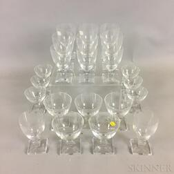 Twenty-two Pieces of Orrefors Colorless Glass Stemware