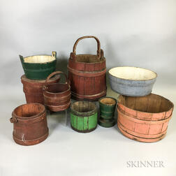 Nine Painted and Stave-constructed Buckets and Measures