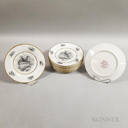 Set of Eight Barr, Flight & Barr Transfer-decorated Ceramic Shell Dishes
