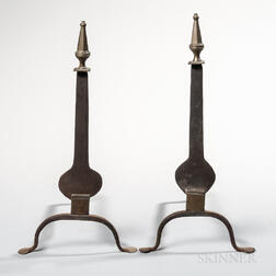 Pair of Iron and Brass Steeple-top Knifeblade Andirons