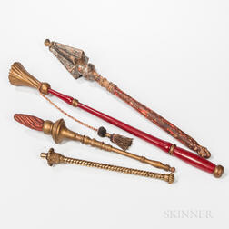 Four Wood and Brass Odd Fellows King's Scepters