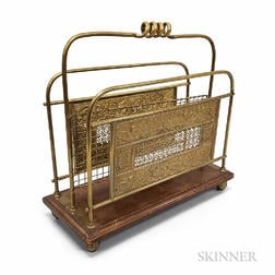 Townshend & Co. Aesthetic Movement Repousse Brass and Mahogany Magazine Rack