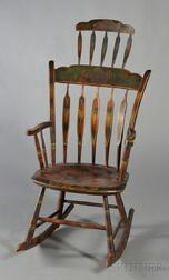 Windsor Paint-decorated Comb-back Armed Rocking Chair