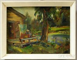 John Shayn (American, 1901-1977)      H.C. Christy Painting at Pollett, VT